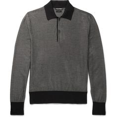 TOM FORD Contrast-Trimmed Knitted Silk and Wool-Blend Polo Shirt (36,940 THB) ❤ liked on Polyvore featuring men's fashion, men's clothing, men's shirts, men's polos, mens polo shirts, mens sports shirts, mens silk polo shirts, mens sports polo shirts and tom ford mens shirts