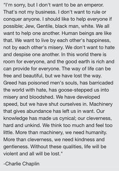 Charlie Chaplin -The Great Dictator// INFJ manifesto