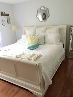Master Bedroom Decorating Ideas With Sleigh Bed Cosy - my bedroom makeover chalk painted sleigh bed Modern Master Bedroom, Master Bedroom Makeover, Master Bedroom Design, Bedroom Wall, Bedroom Decor, Bedroom Ideas, Sleigh Bed Painted, Painted Beds, Sleigh Beds
