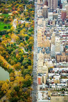 Central Park VS New York- Une superbe photo de l'artiste Kathleen Dolmatch dans laquelle nous pouvons voir le contraste entre l'architecture de la ville de New York et le vert éclatant de Central Park.