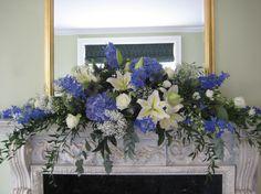 hydrangea arrangements | R025: Mantelpiece Arrangement of Blue Hydrangea, Delphinium, Lilies ...