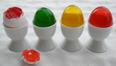 A great idea for an April Fools joke. Jello hidden inside eggs! :)  Here's the how-to: