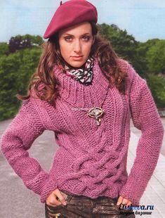 """Пуловер с бросающимся узором из кос """"Парижанка"""". Вязаный спицами"""