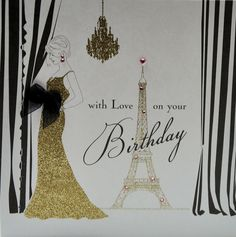 Gorgeous ladies birthday card with stunning Eifel Tower with gold glitter and Swarovski crystals by five dollar shake. Paris Cards, Birthday Love, Birthday Ideas, Dress Card, Birthday Cards For Women, Greeting Cards Handmade, Gold Glitter, Swarovski Crystals, Projects To Try
