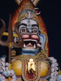 Maa in all Her glory, looking like Kali, Shiva and Hanuman at the same time. Statue is 51 feet tall, located outside of Pondicherry (India).