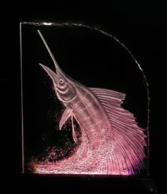 """18"""" x 22"""" Sailfish carved in glass by Stuebner Glass Design"""