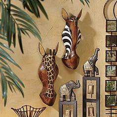 Heyvan Hand-carved Masks from Seventh Avenue ® Safari Crafts, Safari Home Decor, Safari Decorations, African Room, African Interior Design, Zebra Decor, Palm Frond Art, African Home Decor, Wood Bird