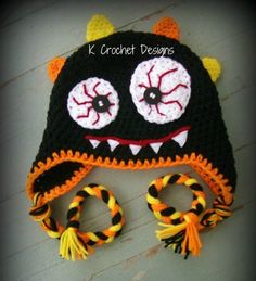 FREE SHIPPING Monster hat- Halloween hat-Crochet baby hat-photography prop- choose your colors- infants toddlers. $25.00, via Etsy.