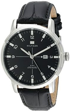 Great gift idea Tommy Hilfiger Men's 1710330 Stainless Steel Watch with Black Genuine Leather Band