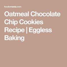 Oatmeal Cookies with peanut butter, banana, eggs and honey Eggless Cookie Recipes, Eggless Baking, Oatmeal Chocolate Chip Cookie Recipe, Oatmeal Cookies, Peanut Butter Banana, Peanut Butter Cookies, Vegetarian Chocolate, Melting Chocolate, Tray Bakes