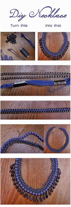 DIY necklace with beads. Easy tutorial colliers à réaliser avec cotons et chaines