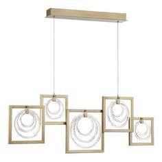 Ivy Bronx Luman Glass Rings 5-Light LED Kitchen Island Pendant
