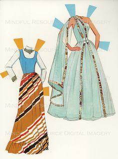 Printable Paperdoll Malibu Barbie Vintage Fashion Paper Doll  1973 w/ 14 Dress Ensembles -Digital Download Sheets Scanned from Originals. $5.00, via Etsy.