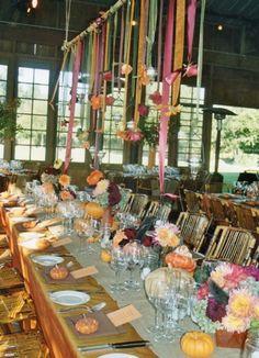 hanging flowers wedding table idea