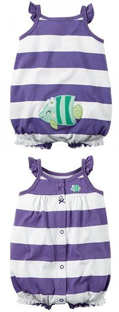 Carter's Baby Girls 1-piece Appliqué Snap-Up Cotton Romper (3 Months, Purple Stripe)