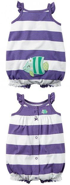 Carter's Baby Girls 1-piece Appliqué Snap-Up Cotton Romper (3 Months, Purple Stripe)