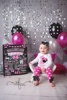 Hot Pink, Black & Grey Minnie Mouse Glam Smash Cake Photography Session   CT Smash Cake Photographer Elizabeth Frederick Photography www.elizabethfrederickphotography.com