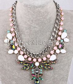 Top selling New design Women Multi bubble crystal colours bib statement necklace
