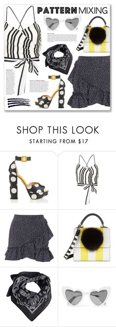 """""""Stay Bold: Pattern Mixing"""" by myduza-and-koteczka ❤ liked on Polyvore featuring Charlotte Olympia, Alice + Olivia, Topshop, Les Petits Joueurs, Anja, MANGO and Yves Saint Laurent"""
