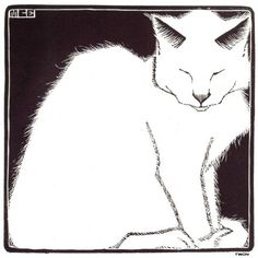 Maurits Cornelis Escher(Dutch,1898-1972) White Cat I 1919 #whitecat