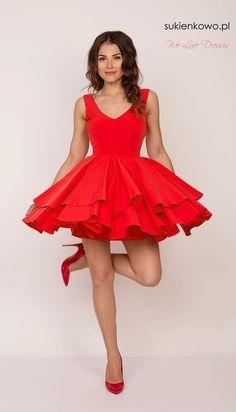 Rozkloszowana sukienka z dekoltem soczysto czerwona  SARA