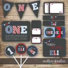 1st Birthday PARTY PACKAGE / First Birthday / Blue and by OandD / Blue, Red & White Birthday