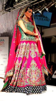 Great colour combo and looove the heavy embroidery on the A-line lengha- Ekta Solanki S/S 2012 BridalWear