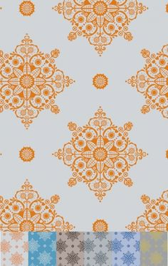 Indian Summer - Retro modern Layla Faye print design available as wallpaper, fabric, mugs