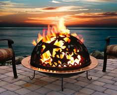 There are a lot of these types of fire pits out now -- traditional, but the cover has cutouts in the metal.  I'm not sure about these.  Haven't seen any that were done so well they knocked my socks off.  What do y'all think? Cheesy or nice? #fire #firepit