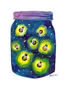 Watercolour Fireflies Night Light Art Print of by jellybeans