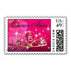 Quince Anos Tiara 15 fuschia Postage Stamp