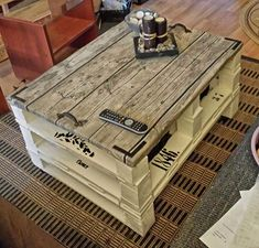 Pallet Coffee Table #Diy, #LivingRoom, #Painted, #PalletTable, #RecyclingWoodPallets