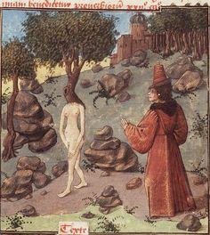 'Daphne, pursued by Apollo, changes into a laurel-tree'. Christine de Pisan, 1450-1475.