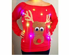 Women's UGLY CHRISTMAS SWEATER - Rudolph!!! - Light Up - Swoop Neck / Off The Shoulder Christmas Sweater  _____**Fast Shipping**_____