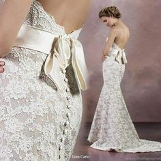 Bare back and lace are a must but strapless not so much :-/... Beautiful dress tho