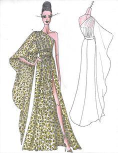 Fashion sketch by Nick Verreos of NIKOLAKI printed silk chiffon one-shoulder exaggerated batwing sleeve gown