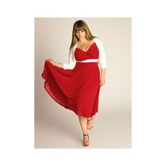 Plus Size Dresses En Vogue Vintage Polka Dot Dress in Crimson - Plus... via Polyvore