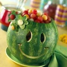 turn your watermelon into an entertaining fruit salad bowl