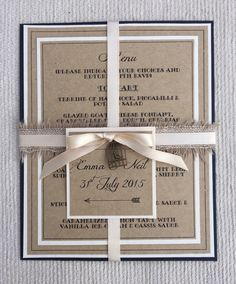 Navy and Ivory Rustic Hessian Wedding Invitations. X