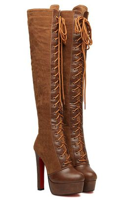 Find More Boots Information about Hot selling 2015 New  Fashion Knee high boots 2 colors Black and brown Thick heels Elegant  Women winter  boots 4 8 size,High Quality winter boots shop,China winter boots sport Suppliers, Cheap winter furniture from Tanna on Aliexpress.com