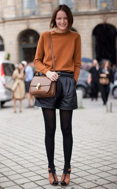 STOCKHOLM STREETSTYLE BLACK LEATHER SHORTS BLACK TIGHTS CELINE CLASSIC BOX BAG CAMEL SWEATER LACE UP HEELS SANDALS STREET STYLE FASHION WEEK...