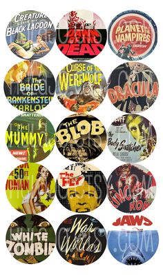 Vintage Horror Movie Bottle Cap Images by hulajo on Etsy, $1.75