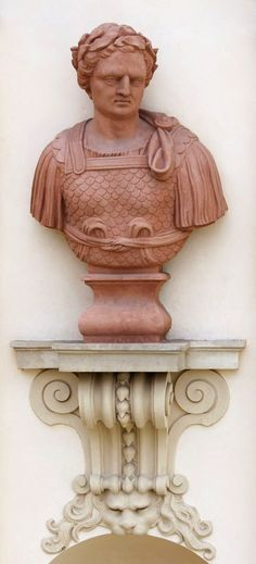Roman bust on the garden facade of the Wilanów Palace by Bartholomeus Eggers, 1680s, commissioned by John III Sobieski