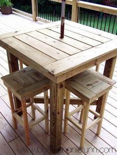 Outdoor pallet bar high chairs--just a longer table Outdoor Pub Table, Outdoor Pallet Bar, Patio Bar, Pallet Tables, Diy Patio, Pallet Benches, Pallet Couch, Outdoor Ideas, Outdoor Bar Height Table