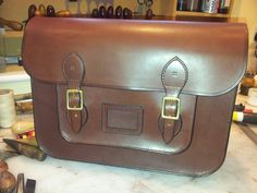 Luxury hand made, hand stitched, traditional school satchel with iPad/net book pocket.