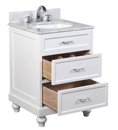 white bathroom vanities with drawers. Amelia 24-inch Bathroom Vanity (Carrara/White): Includes A White Cabinet Vanities With Drawers .