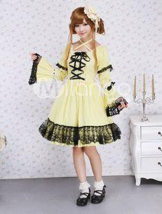Cotton Yellow Lace Gothic Dress