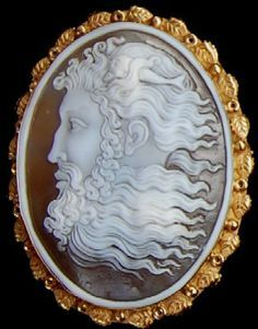 Antique vintage Victorian cameo depicting Neptune