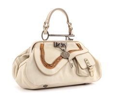 """Christian Dior """"Gaucho"""" top handle bag in ivory white"""