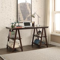 Update your home or work office with this on-trend sawhorse desk in dark brown wood. The desk's surface provides a generous work area, and the shelves built into the legs keep your essentials close at